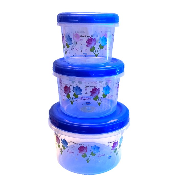 Set Of 3 Printed Mini Plastic Container