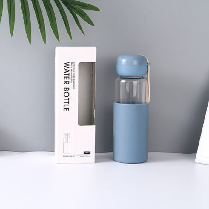Creative Heat-Resistant Glass Water Bottle (Blue)