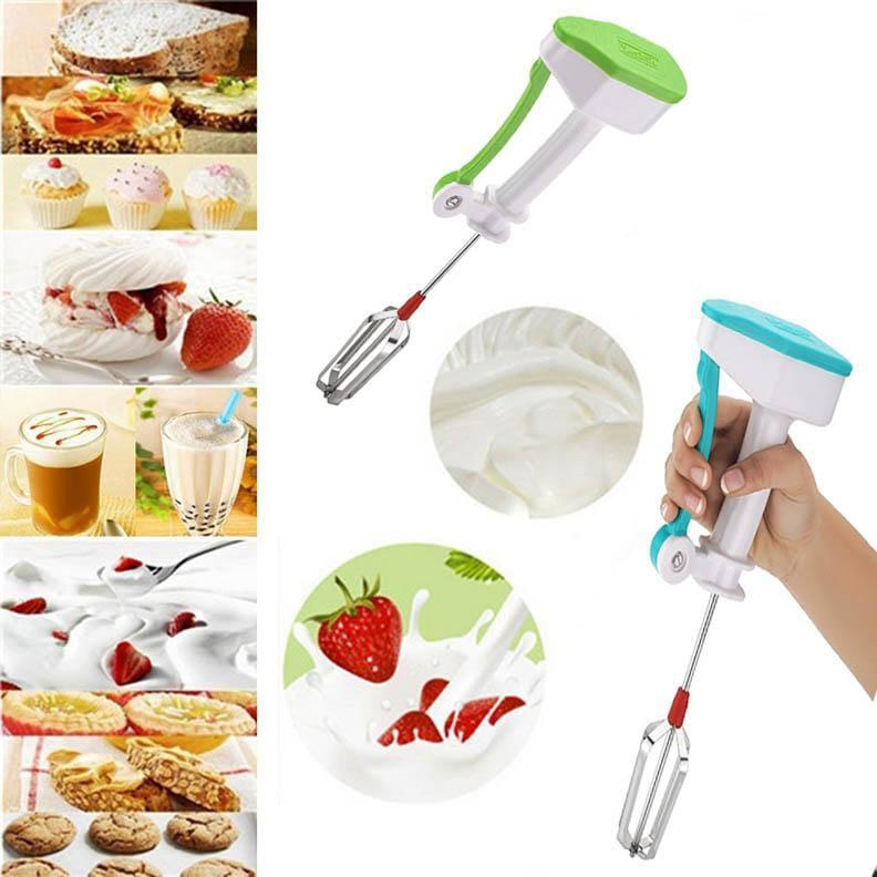 Non Electric Stainless Steel Hand Blender, Mixer, Beater With Finger Exercise
