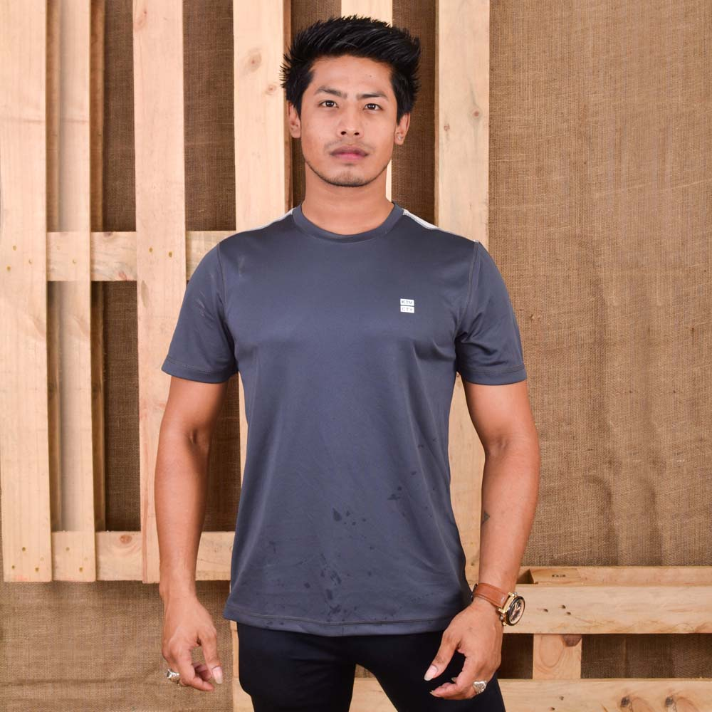 KTM CTY Men Knit Round Neck Grey T-Shirt- KKRT05838