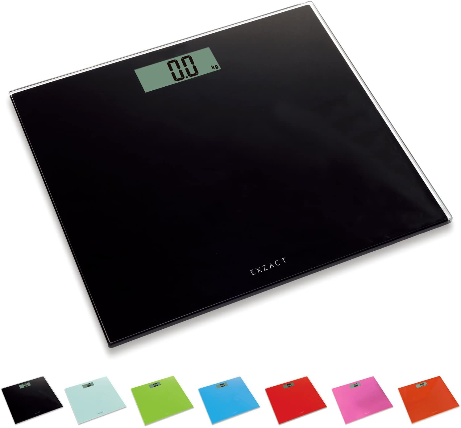 Electronic Digital Bathroom Scale, Digital Glass Weighing Scale Body Weight with Step-On Technology Black