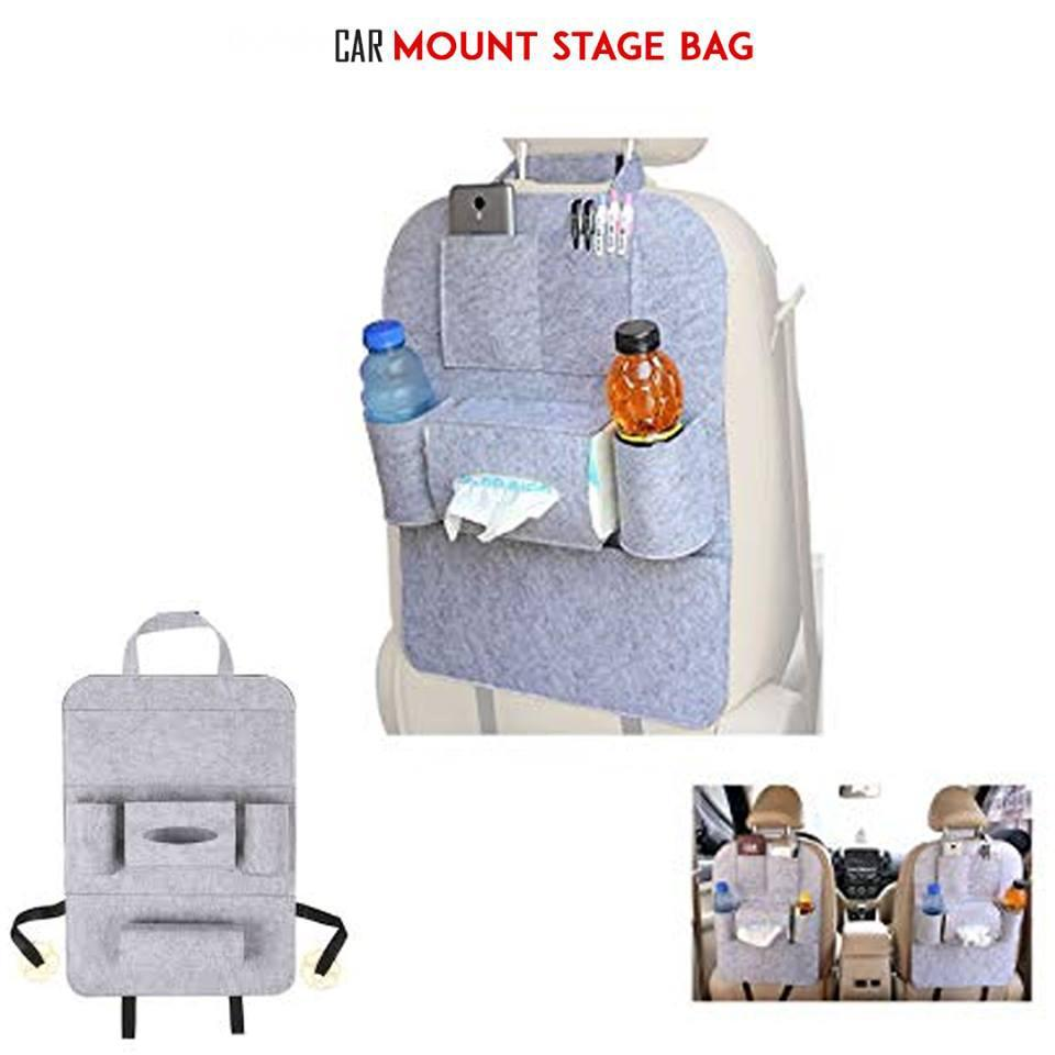 Car Passenger Seat Organizer Trash Net Holder Multi-Pocket Travel Storage Bag Hanger For Auto Capacity Storage Pouch Grey