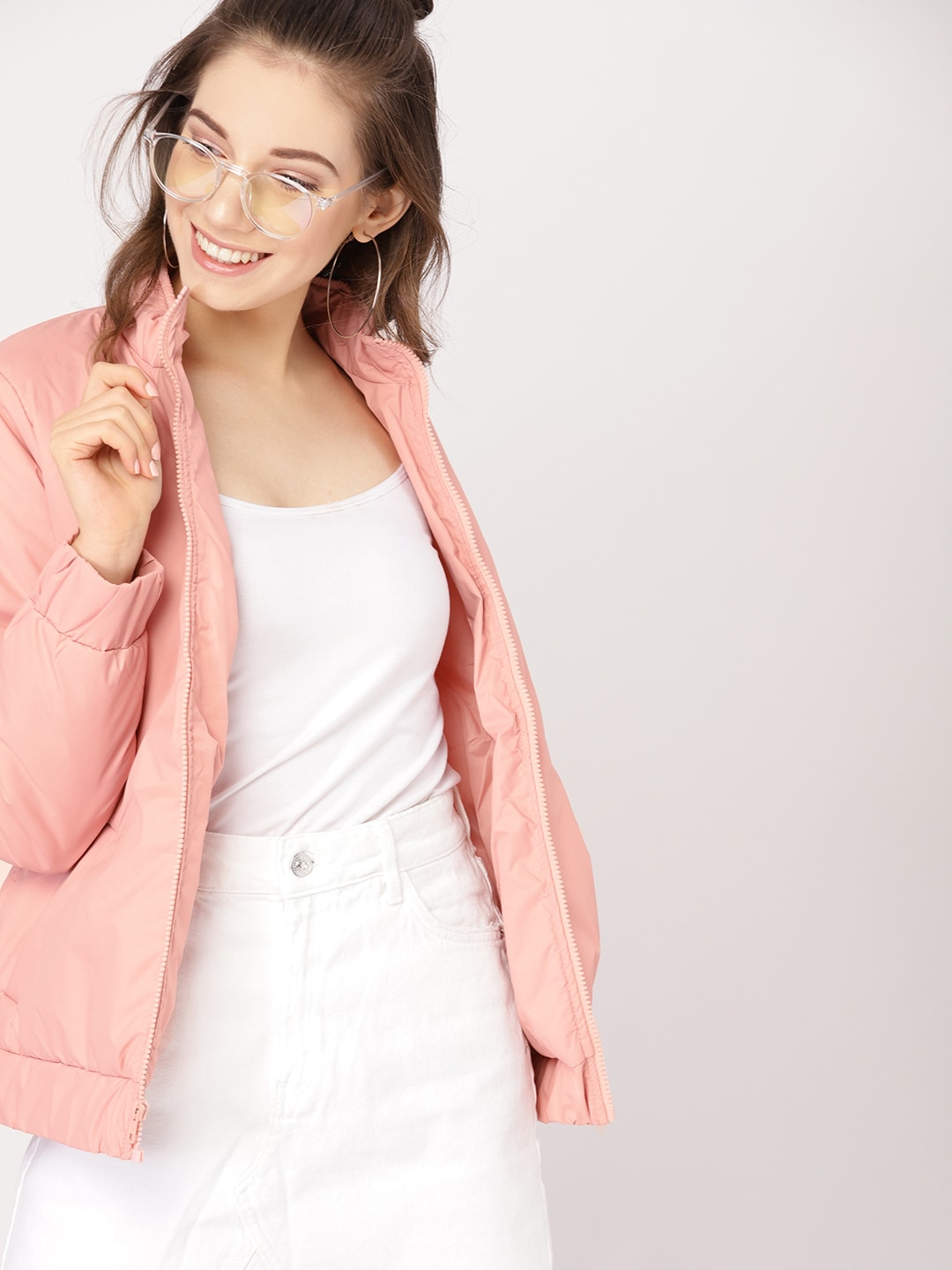 DressBerry Women Pink Solid Padded Jacket-9400783
