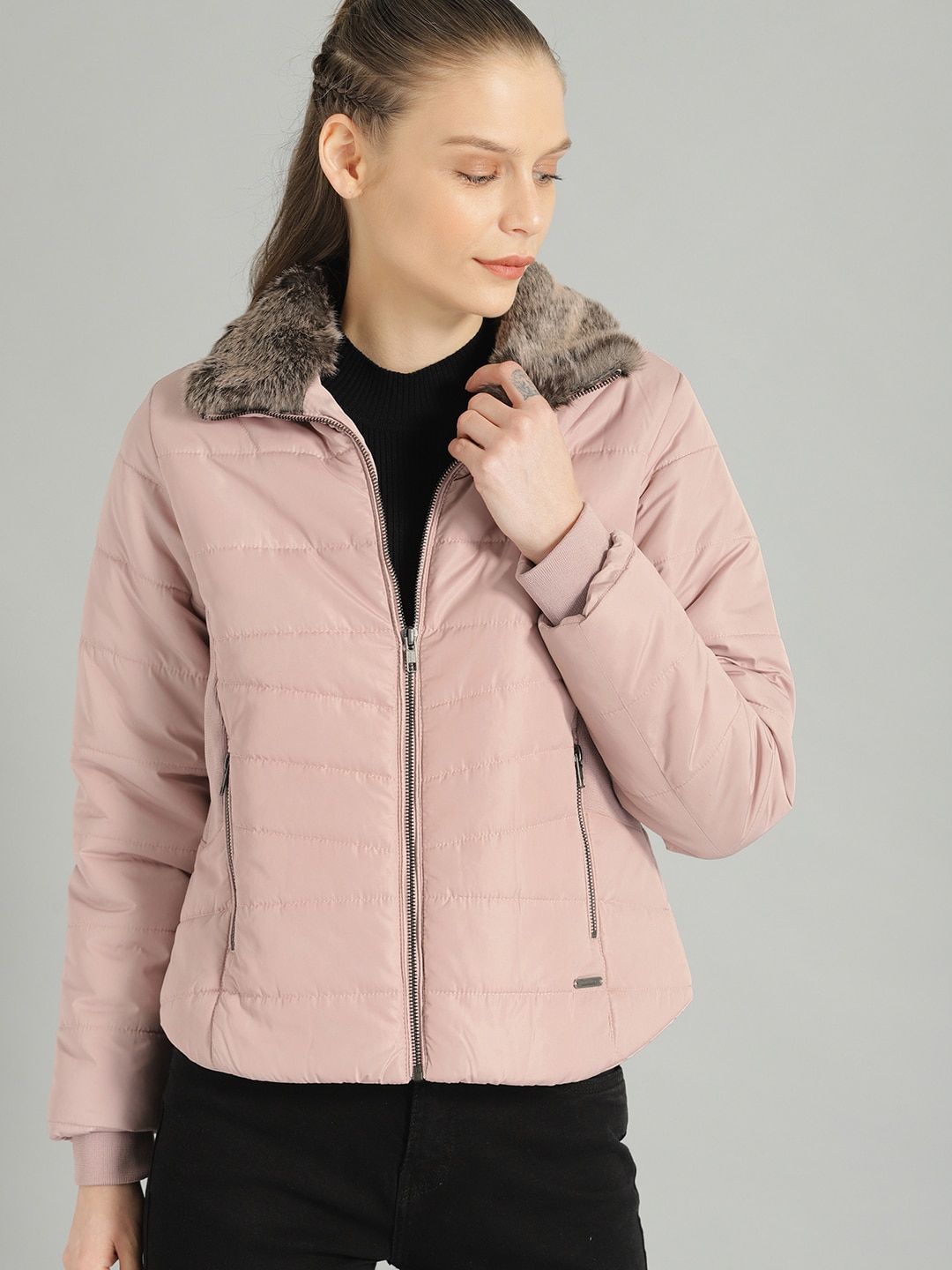 Roadster Women Pink Solid Puffer Jacket-9479135