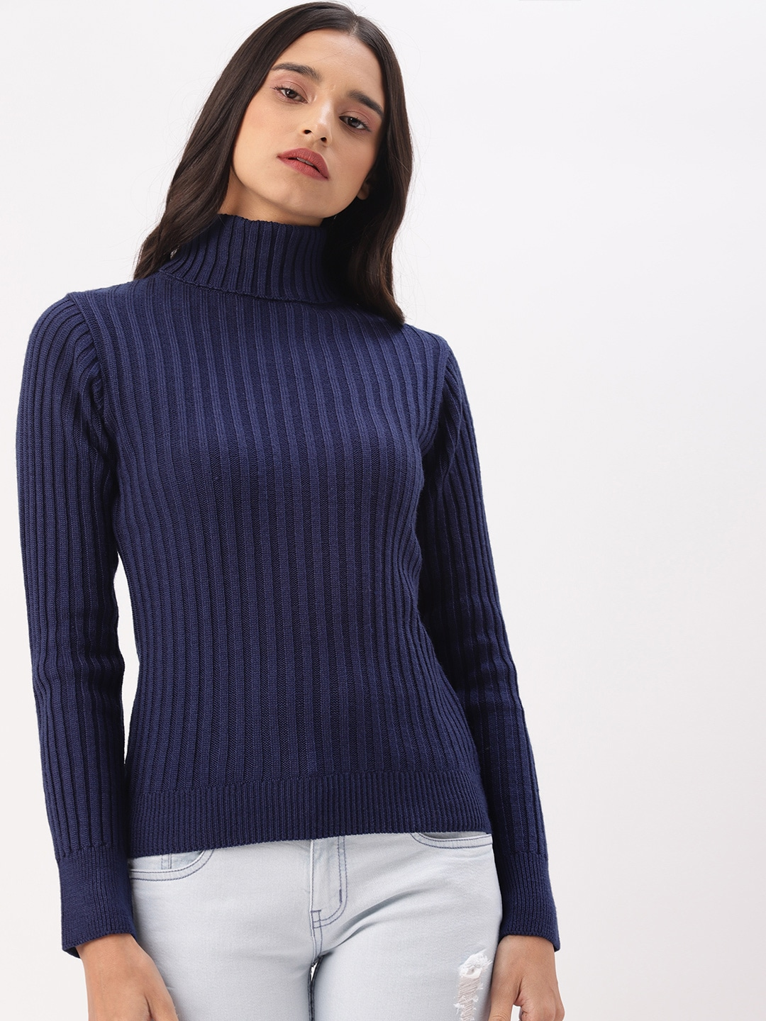 DressBerry Women Navy Blue Solid Sweater-9403103