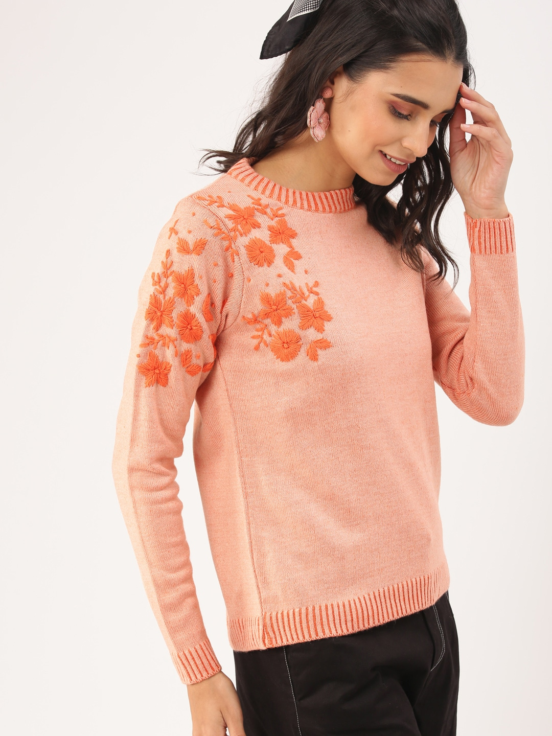 DressBerry Women Orange Embroidered Sweater-9403357