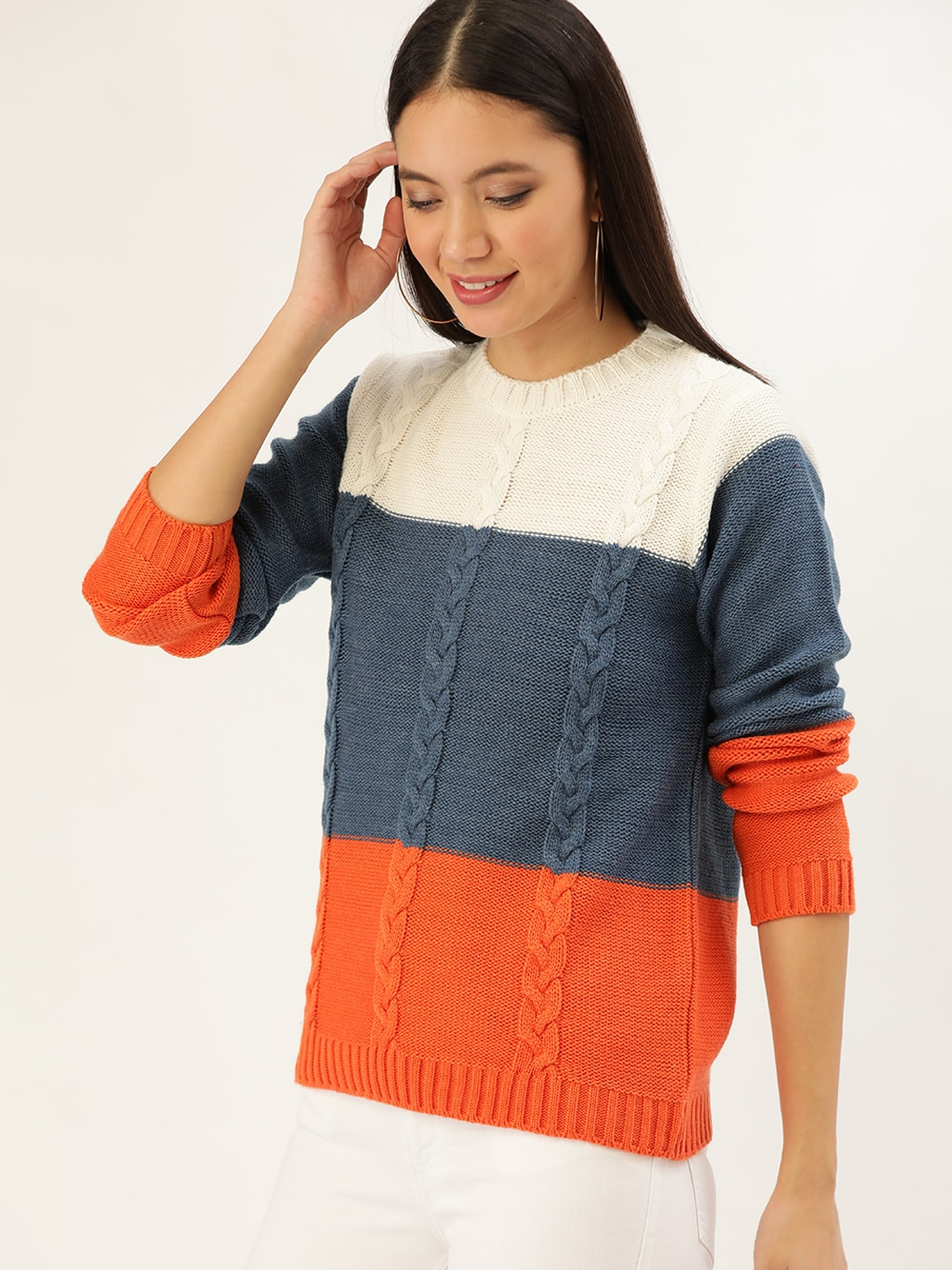 DressBerry Women Blue & Off-White Colourblocked Cable Knit Pullover Sweater-9403377