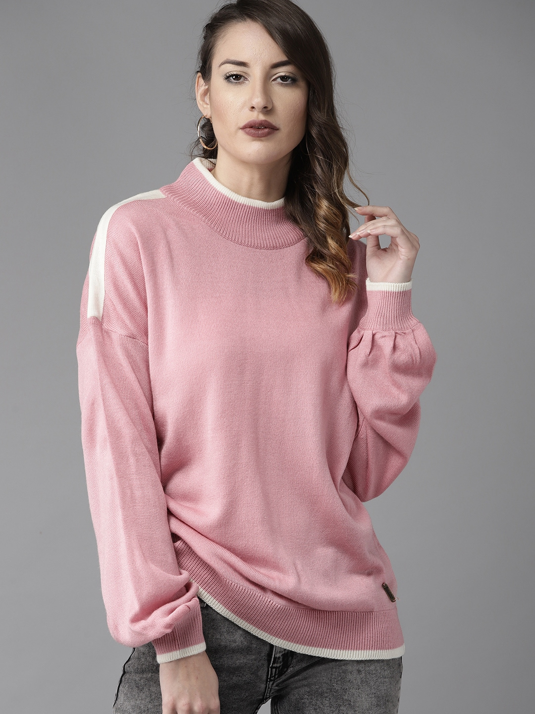 Roadster Women Pink Solid Sweater-9479091