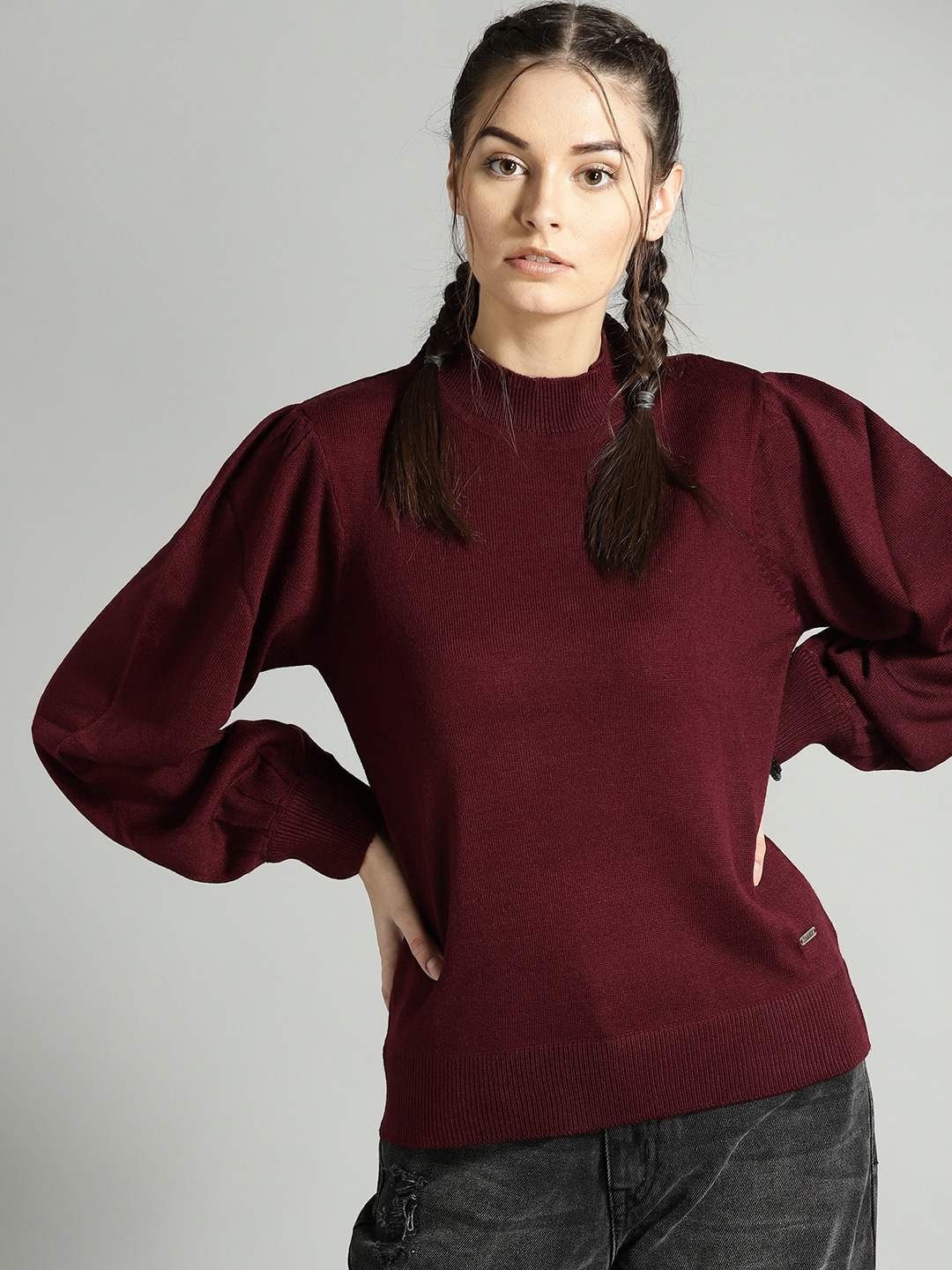 Roadster Women Maroon Solid Sweater-9479141