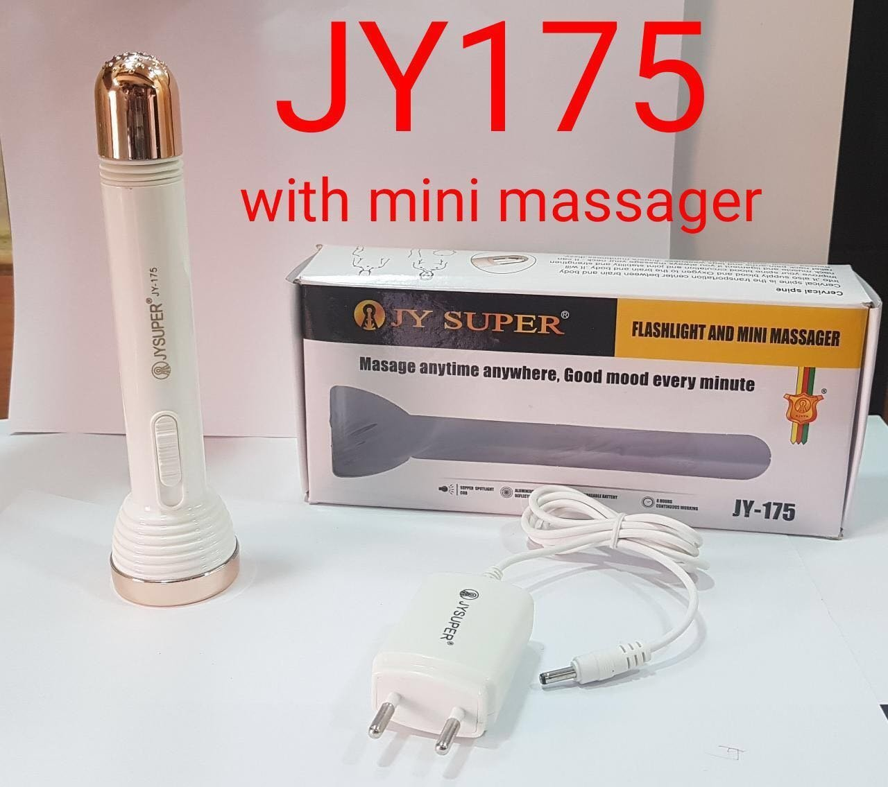 JY-175 RECHARGEABLE VIBRATOR MASSAGER TORCH COME WITH SUPPER SPOTLIGHT COB