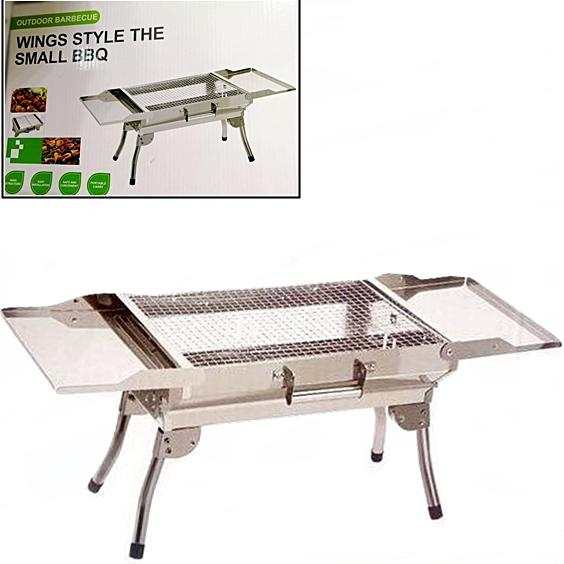 Stainless Steel Portable Wing Style Manual Charcoal Folding Barbecue Grill Stand