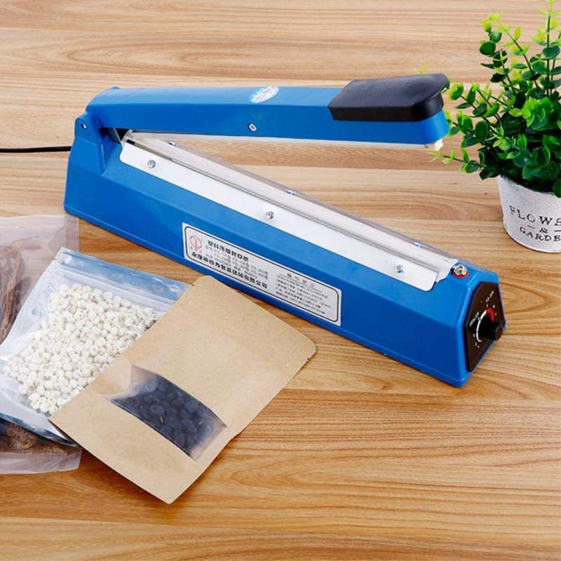 300mm Impulse Sealer Heat Sealing Machine Vacuum Bag Sealer Plastic Bag Packing Tools Plastic Sealer 220V 50/60HZ,Blue 300MM