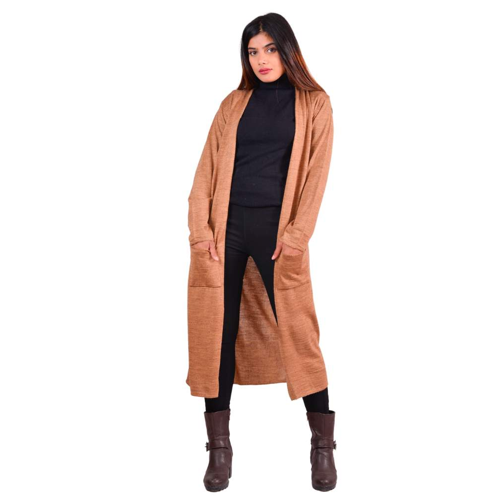 Paislei Camel Long Stylish Asymetrical Outer For Women - CL-5830