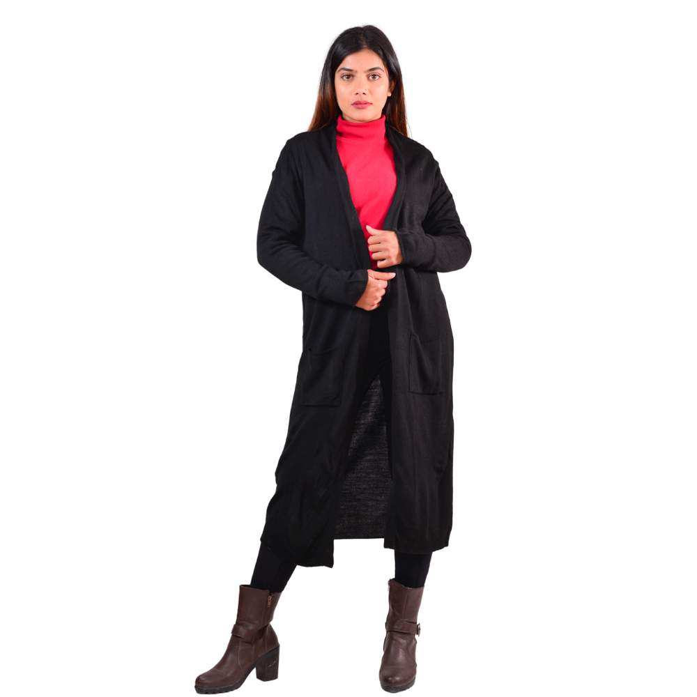 Paislei Black Long Stylish Asymetrical Outer For Women - CL-5830