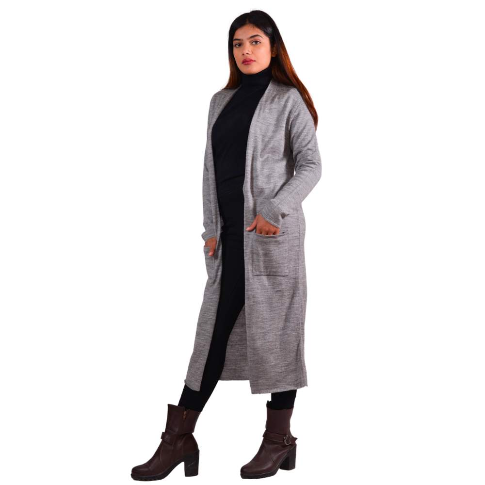 Paislei Grey Long Stylish Asymetrical Outer For Women - CL-5830