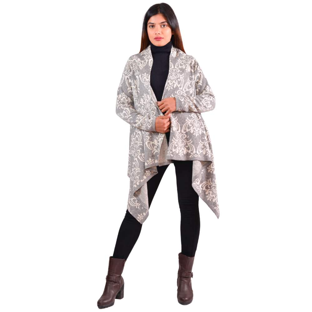 Paislei Grey/White Printed Outer With Sleeves For Women - LH-1829-119