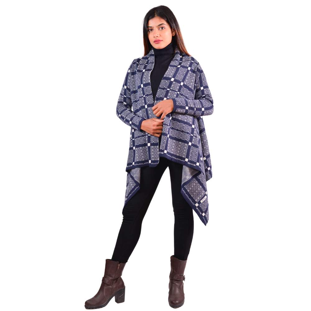 Paislei Navy N White Printed Shrug Foer Women - LH-1829-125
