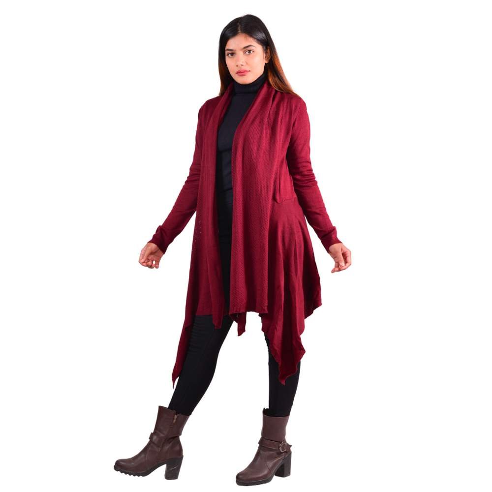 Paislei Maroon Outer With Half Net Pattern For Women - LH-1923-104