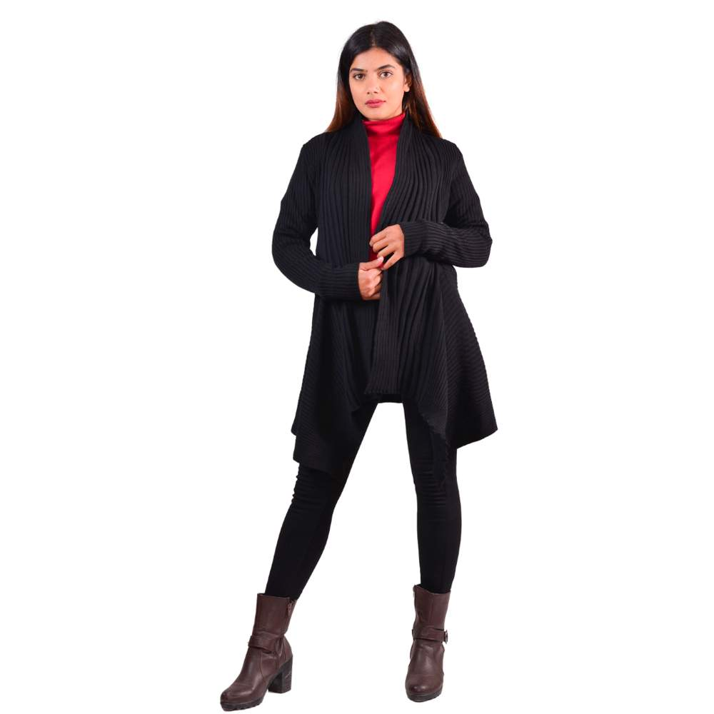 Paislei Black Outer With Stripes For Women - LH-1923-107