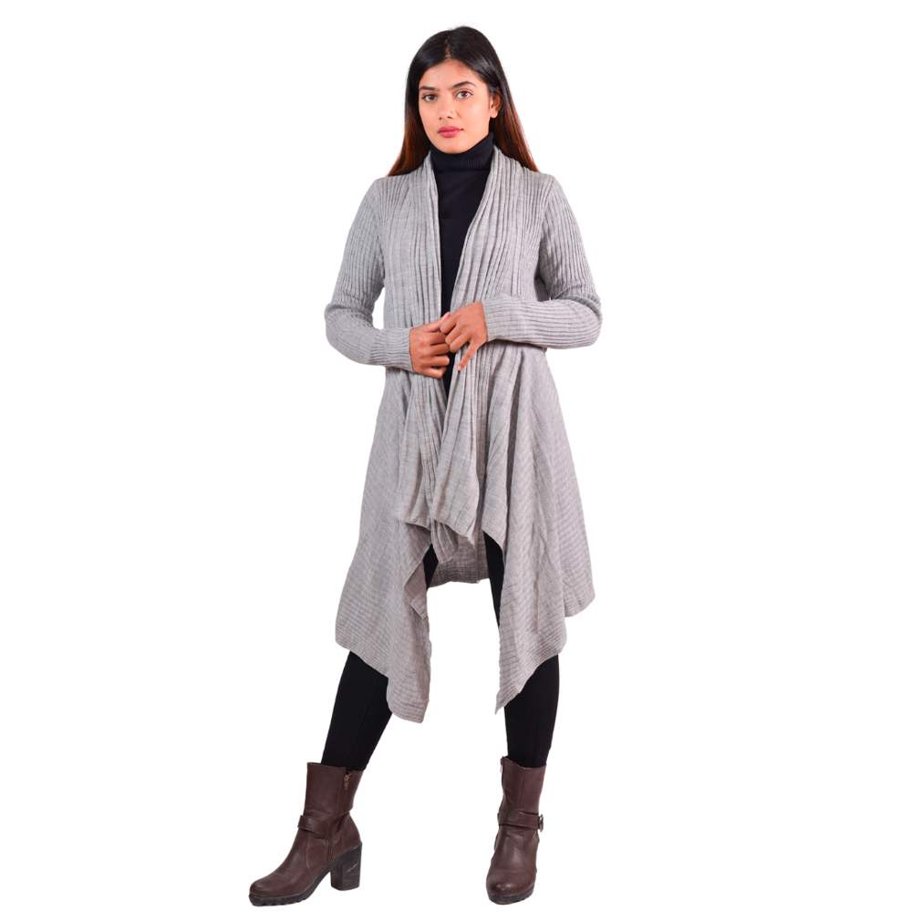 Paislei Grey Outer With Stripes For Women - LH-1923-107