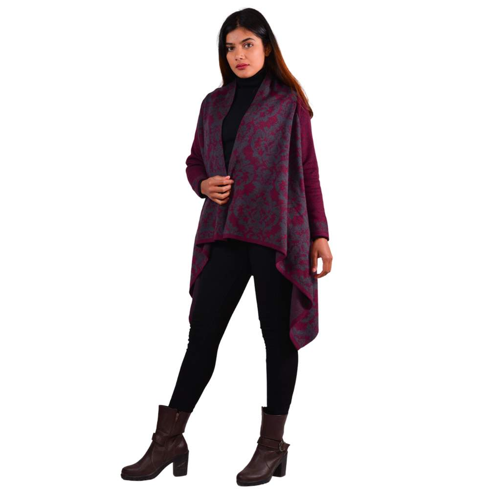 Paislei Maroon Shrug With Grey Prints For Women - LH-1924-102