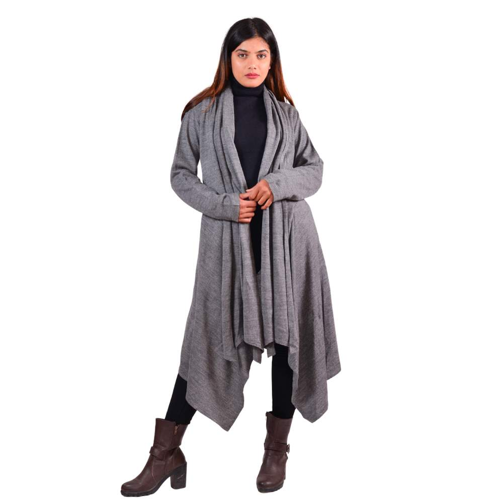 Paislei Grey Shrug With High Low Asymetrical Style For Women - MG-GK2227
