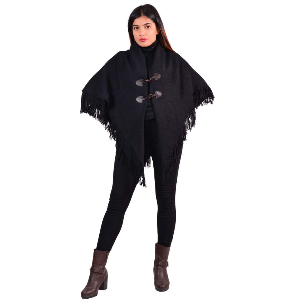 Paislei Black Poncho With Buttons For Women - MG-M4