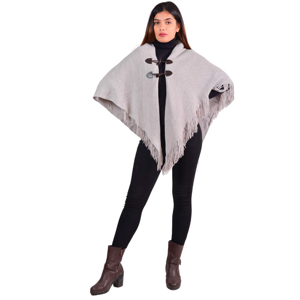 Paislei Grey Poncho With Buttons For Women - MG-M4