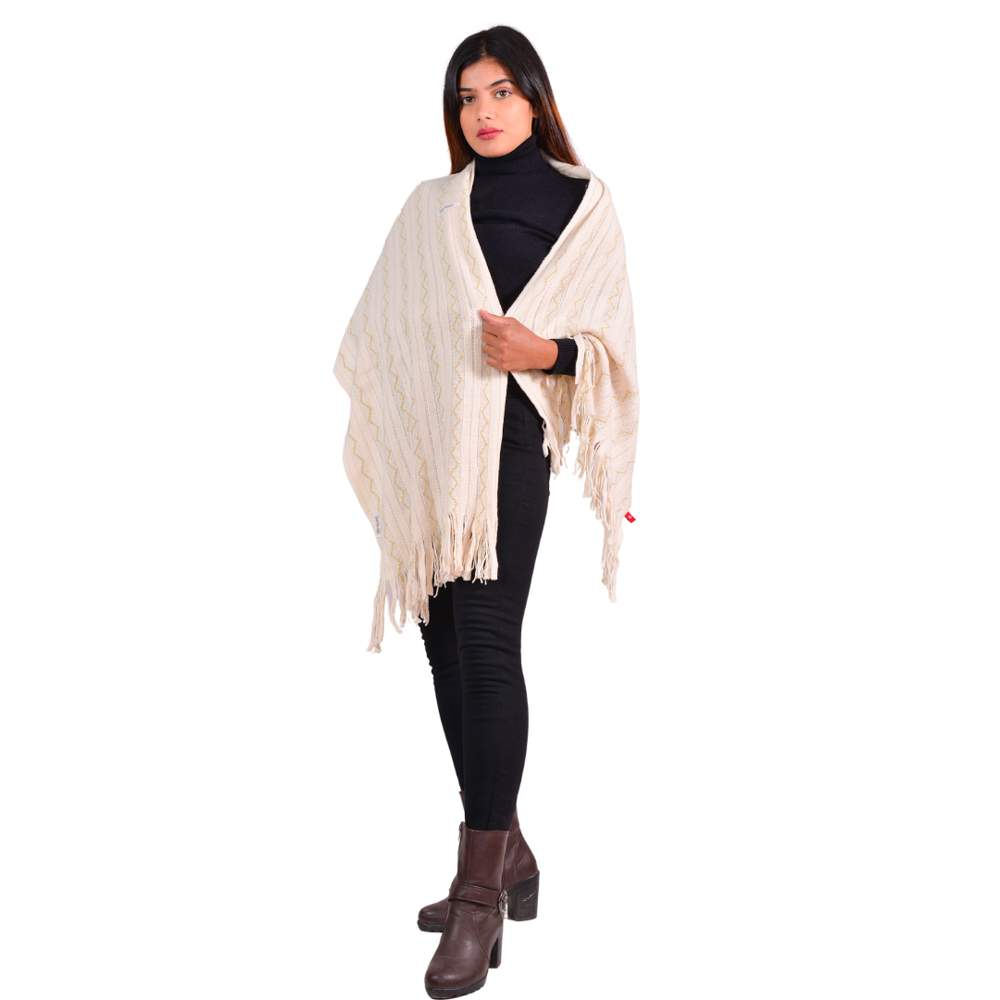 Paislei Cream Stole With Foil Print For Women - MG-M21