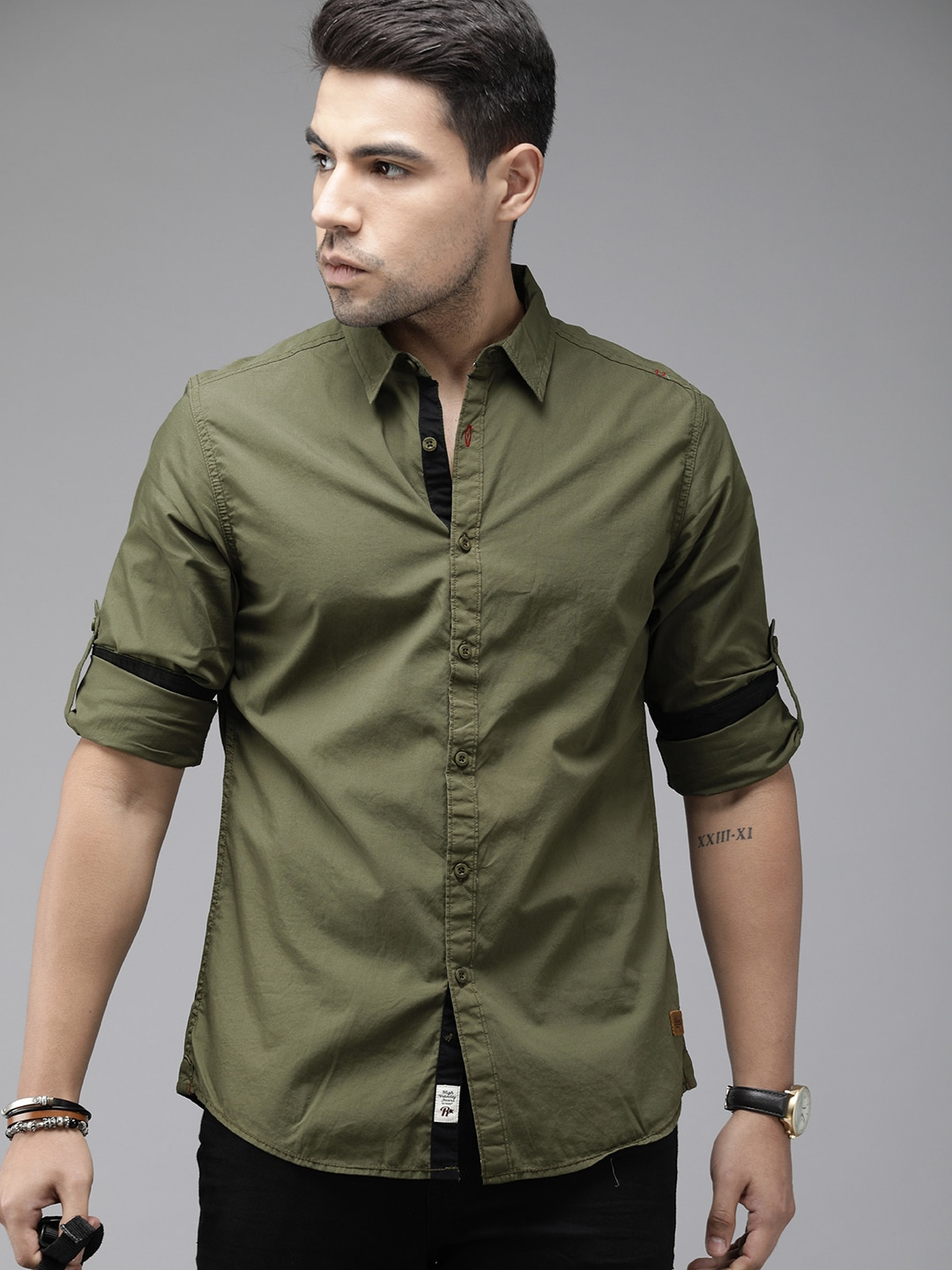 Roadster Men Olive Green Regular Fit Solid Casual Shirt-11326282