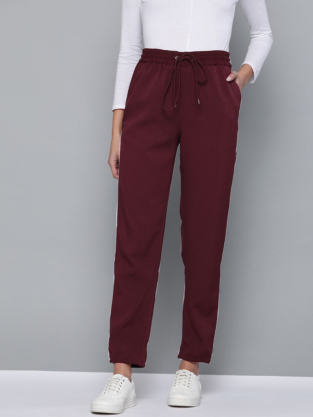 Mast  Harbour Women Maroon Solid Cropped Joggers-13097002