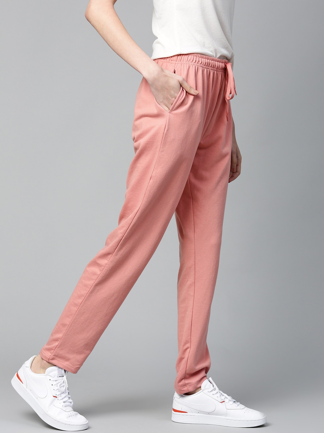 Mast  Harbour Women Dusty Pink Solid Track Pants-12332478