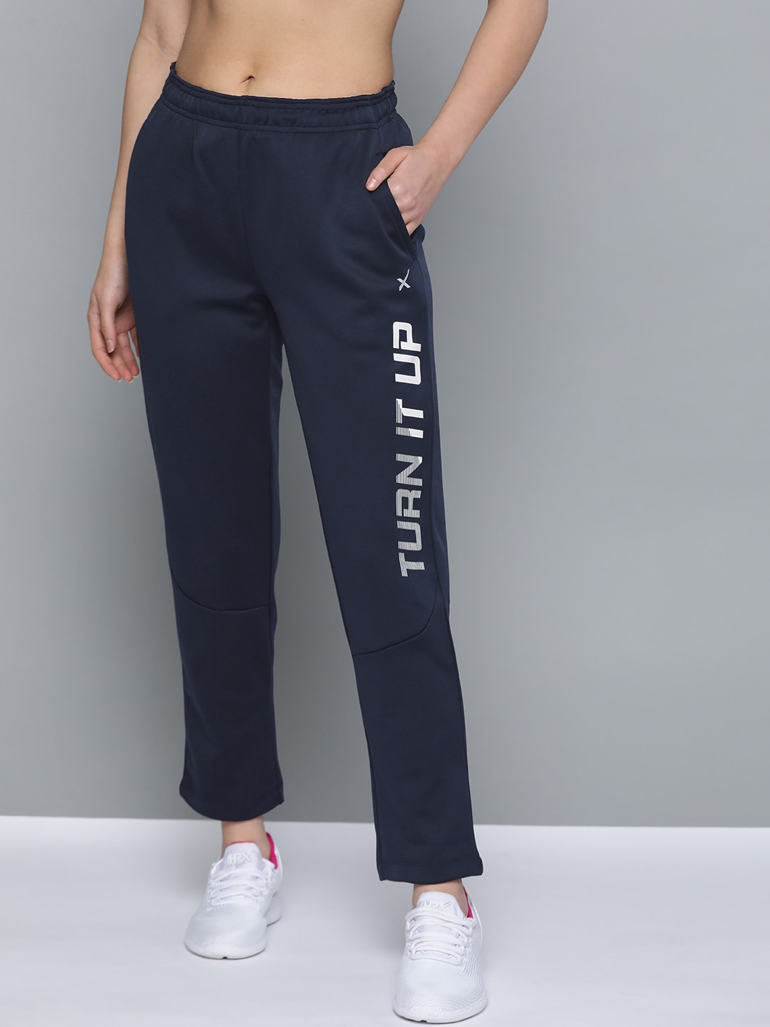 HRX by Hrithik Roshan Women Medieval Blue Solid Regular Fit Rapid-Dry Training Track Pants-12404312