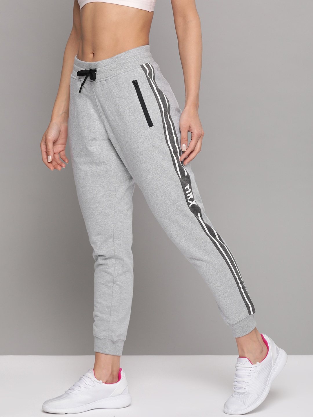 HRX by Hrithik Roshan Women Light Grey Melange Solid Regular Fit Track Pants-12404620