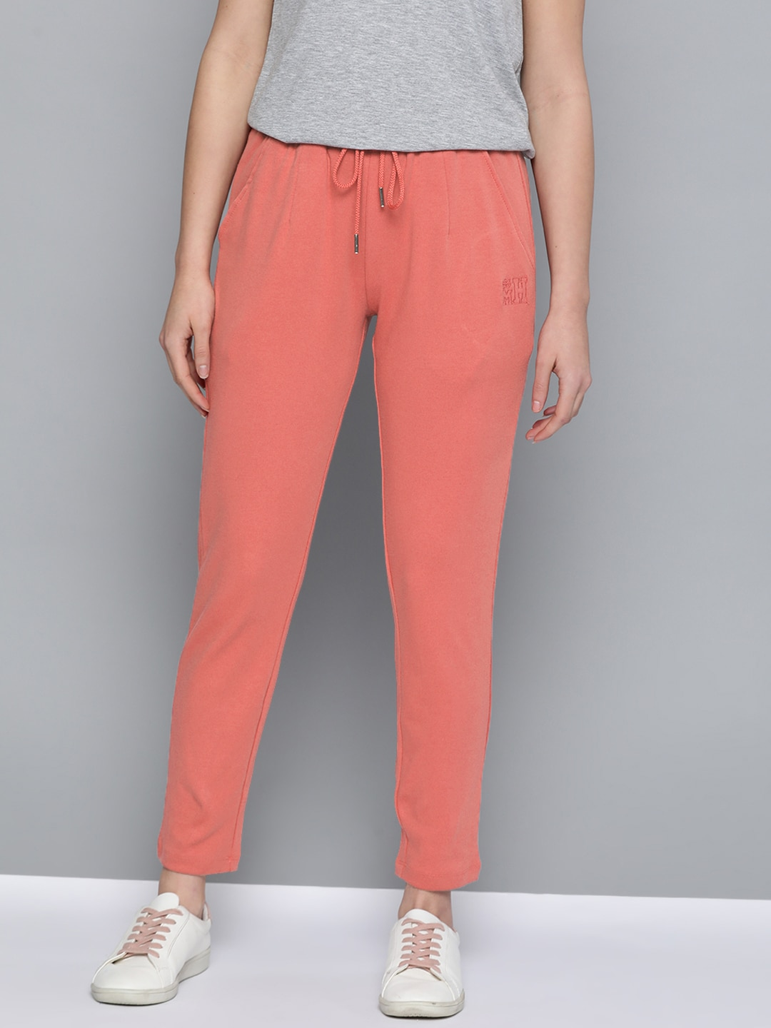Mast  Harbour Women Coral Pink Solid Pure Cotton Track Pants-13392006