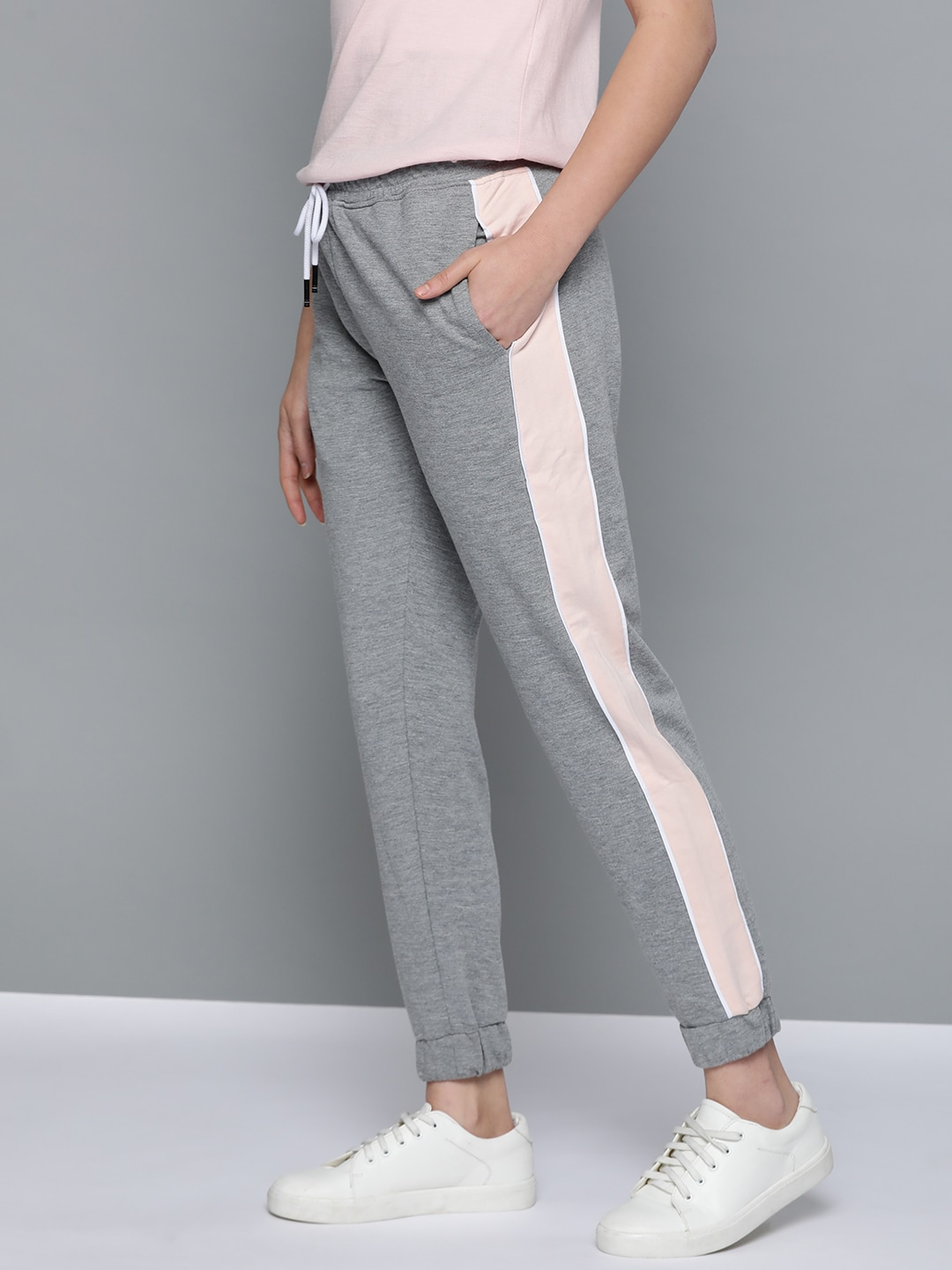 Mast  Harbour Women Grey Melange Solid Pure Cotton Joggers-13392020
