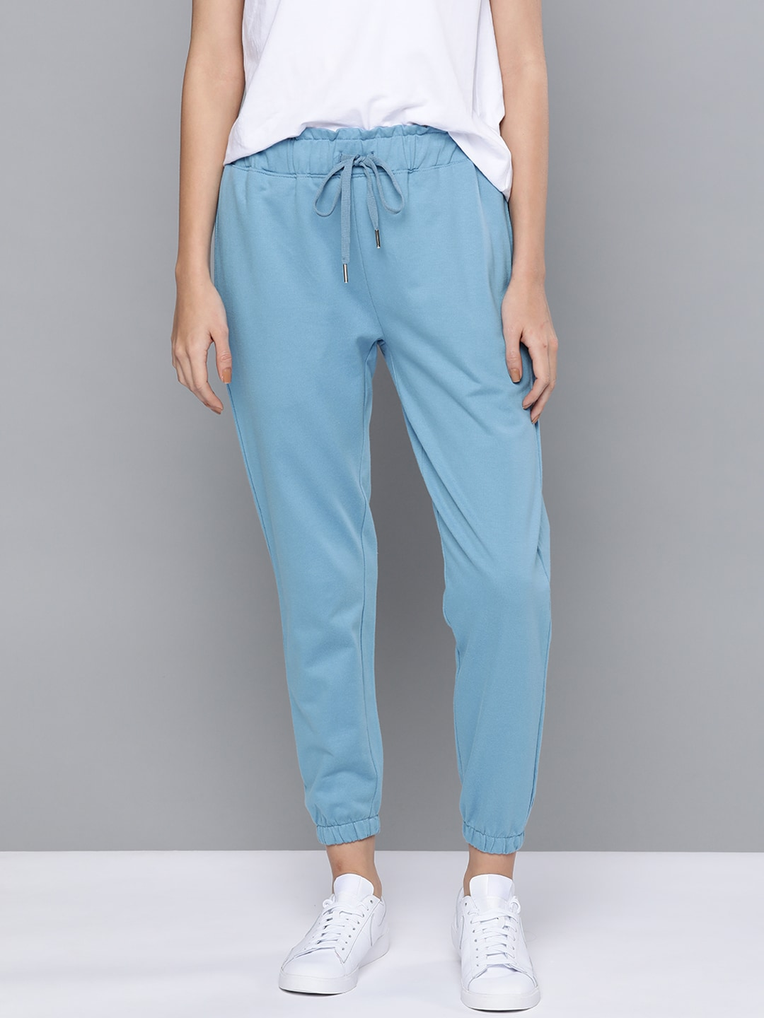 Mast  Harbour Women Blue High-Waisted Regular Fit Pure Cotton Joggers-13392038