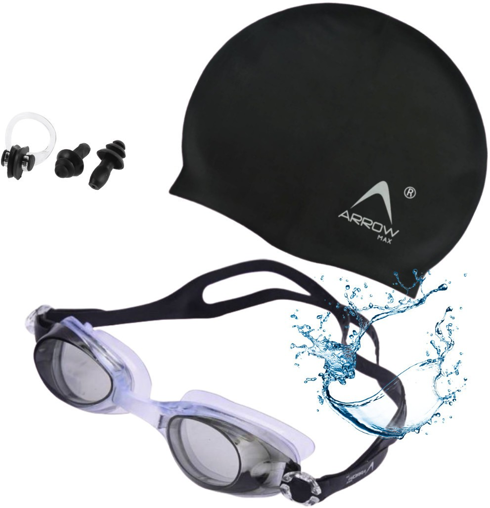 Arrowmax Swimming Kitsilicone cap/Swimming Goggle/Earplugs/Noseplug Black Swimming Kit
