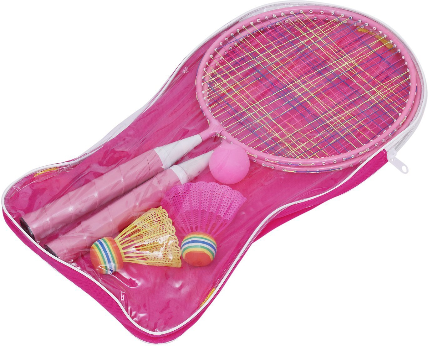 Leosportz Durable Kids play Mini Badminton racket Set with 2 Shuttles Pink Strung Tennis Racquet Pack of: 2, 200 g