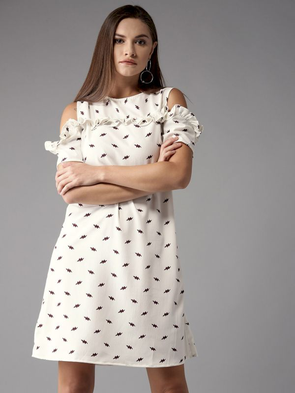 HERE&NOW Women Printed A-Line Dress