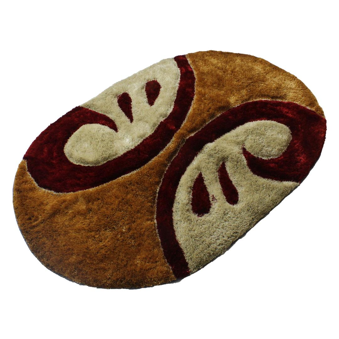 Oval Washable Woolen Rug With Abstract Print