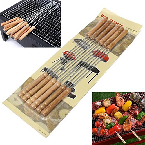 Barbecue Skewers,Meccion 12 Pcs Stainless Steel Barbecue String with Wooden Handle BBQ Stick Needles