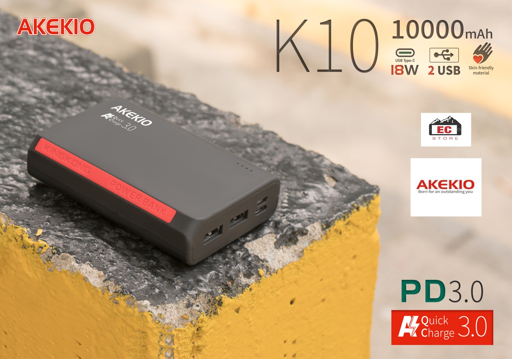 Akekio K10 Powerbank with 10000 mAh Capacity 3.0A Output- PD Function fast charging supports-18W