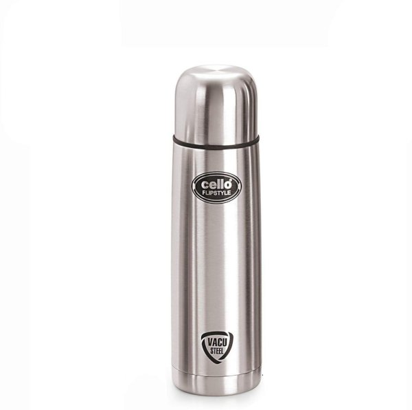 Cello Flip Style 1000 ml Flask Pack of 1, Silver, Steel