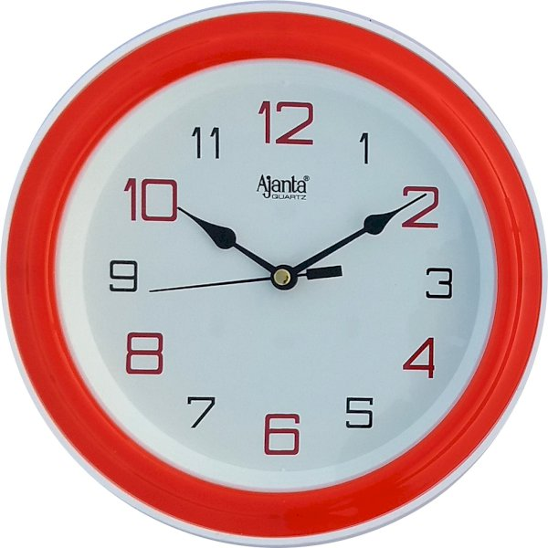 Ajanta Analog 20 cm X 20 cm Wall Clock Red, With Glass