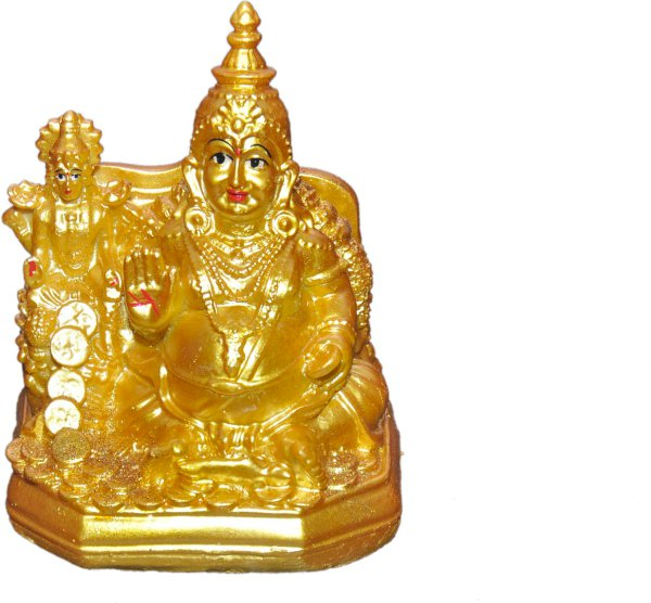 Green Value Laxmi kuber Idol, Murti diwali decorative for Pooja and Mandir and Temple Decorative Showpiece  -  15 cm Polyresin, Gold