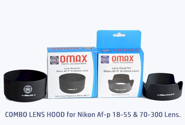 Omax lens hood for nikkor af-p 18-55mm & 70-300mm lens combo offer  Lens Hood 58 mm, Black