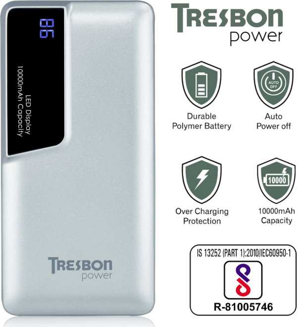 TRESBON 10000 mAh Power Bank Silver, Black, Lithium Polymer