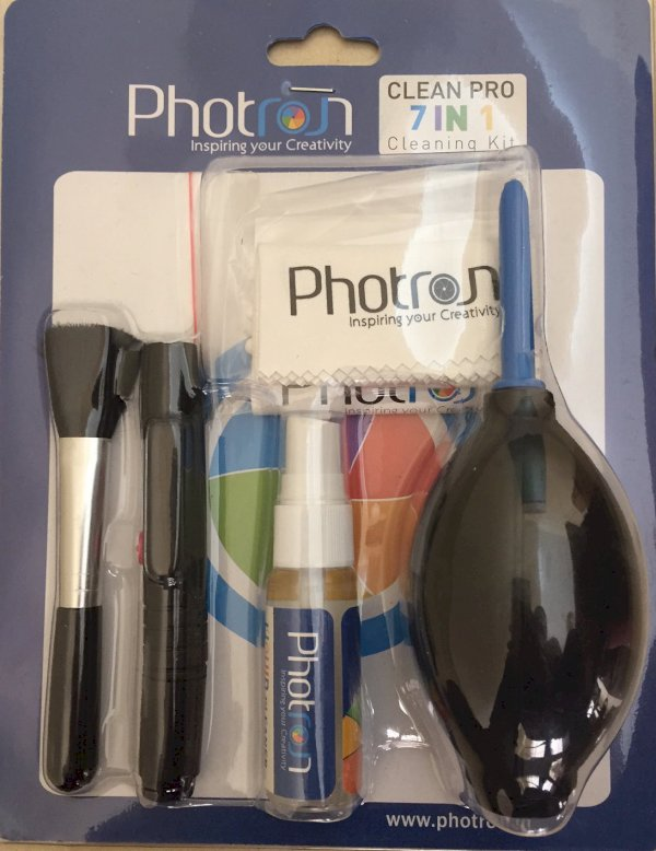 Photron New Professional Clean Pro 7 IN 1 Multi-Purpose Cleaning Kit for Flipkart Camera Stores, Lenses, Binoculars, LCD, Laptops, Desktops, Keyboards, etc, Includes Micro-Fibre Cloth, Brush, Liquid Solution, Powerful Dust Blower, Cotton Swabs, Magic lens
