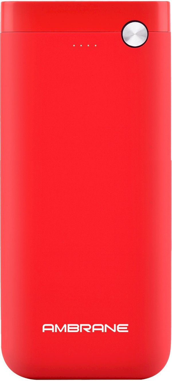 Ambrane 20000 mAh Power Bank Fast Charging, 10 W Red, Lithium Polymer